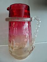 Boston & Sandwich Glass AMBERINA Polka Dot Optic TANKARD PITCHER TWISTED Handle