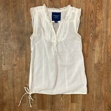 American Eagle Womens White Cap Sleeve Top V Neck Ruffle Accents Sz 2