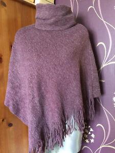 Pieces Purple Plum Marl Boucle Knit Autumn Winer Poncho Cape Size 8-10