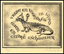 Zwiers Wim 1949 Exlibris L1 Bookplate Lizard Animals 1640