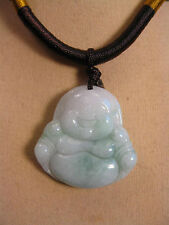 "Handcrafted knot work cord adjustable jade ""laughing buddha"" pendant/necklace"