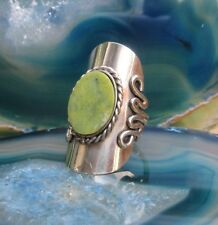 Anello Alpaca Argento Serpentina Verde Pietre Etnico Inca Maya Indiana Stile 14