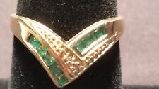 Emerald Ring 14 K Yellow Gold Size 6