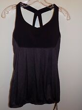 Lululemon scoop me up deep Purple eggplant Tank Top  Cinch hem 6 Inserts EEUC