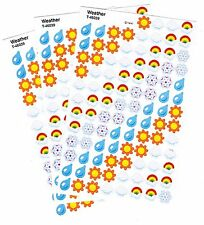 3 Sheets Mini WEATHER 300 Scrapbook Stickers Rain Drops Sun Clouds Rainbow Snow