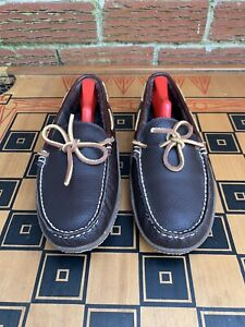 L.L. Bean Men 8 M Handsewn Slippers Moccasins Brown Leather Flannel Lined Rubber