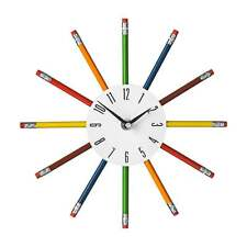 Wall Clock Pencil Multi Colour Funky Kids Nursery Bedroom Home Office Wall Clock