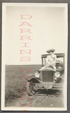 Vintage Car Photo Girl w/ Hat 1926 1927 Model T Ford Automobile 769080