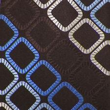 MICHAEL KORS Brown Blue Ivory GEOMETRIC Woven Silk Tie EUC