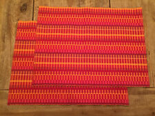 """New listing Two Crate&Barrel """"Horizon"""" Placemats, Orange, Red, Gold, 100% Cotton, 14x19 In"""