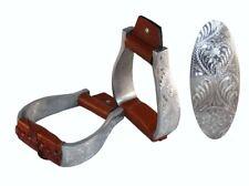Aluminium Show Steigbügel graviert gepolsterter Tritt Westernsteigbügel gerade