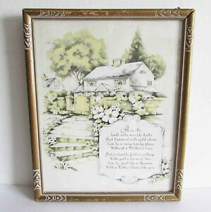 VTG MOTHER DEAR Castle Verse Motto Frame Deco Buzza Style Plaque 8.75x11 FREE SH