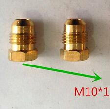 Pair Fitting Metric Plug M10 M10X1 M10X1.0 Male Hex Head Brass Oil Fuel Gas L-77