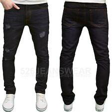 Soulstar Mens DESIGNER Distressed Ripped Slim Fit Straight Leg Jeans Jerk - Blue Black 34w 32l