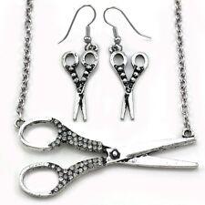 Beauty Salon Hair Stylist Scissors Pendant Necklace Dangle Earrings Set Charm u8
