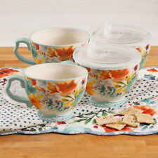 The Pioneer Woman Willow Cup Mug Set 27oz with Vented Lids Hot or Cold 8- Pieces