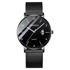 Luxury Men's Analog Date Slim Mesh Stainless Steel Dress Wrist Watch Waterproof