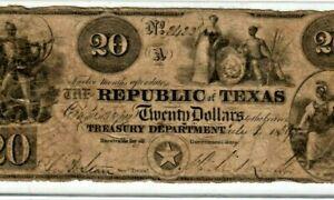"""$20 """"TEXAS"""" (REPUBLIC OF TEXAS) 1800'S RARE!! $20 (REPUBLIC OF TEXAS)  $20 RARE!"""