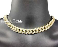 "Iced 16"" or 18"" Miami Cuban Choker Necklace Hip Hop Mens Quavo Gold Plated Chain"