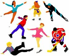 ~ Ice Skaters Hockey Kids Sports Olympics Mrs Grossman Stickers SALE PRICE ~