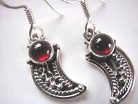 Garnet Tribal Style 925 Sterling Silver Dangle Earrings