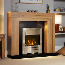 ELECTRIC STEPPED OAK SURROUND SILVER GRANITE FIRE FIREPLACE SUITE & SPOTLIGHTS
