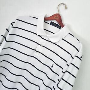 Men's POLO RALPH LAUREN Premium BIG AND TALL White/Black Striped Polo Shirt 2XB
