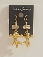 Official Disney Winnie The Pooh Bouncing Tigger Gold Tone Dangle Earrings