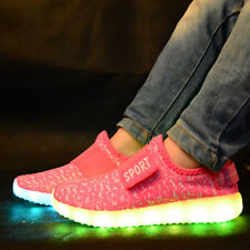 LED Trainers Shoes Boys Girls Light up USB Charger Luminous Kids Casual SNEAKERS Pink EUR 32