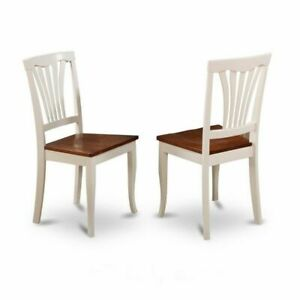 Set Of 2 Dining Avon Chairs Wood Seat - Buttermilk And Cherry Finish