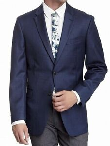 Tommy Hilfiger NEW Navy Blue Mens Size 38 Long Two Button Wool Blazer $425 #136