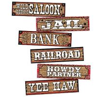 Western Cowboy Decoration Signs Wild West Retro Style Jail Bank Yee Haw Party BN