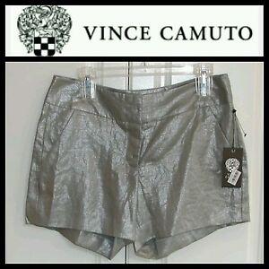 $99 Vince Camuto Oasis Gray Metallic Linen High Rise Dress Shorts ~ 8 M3020