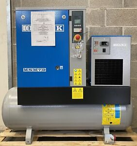 New Mark MSM7D Receiver Mounted Rotary Screw Compressor + Dryer! 34.7Cfm, 7.5KW!