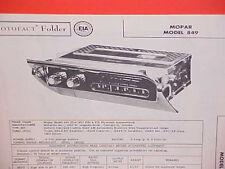 1957 PLYMOUTH BELVEDERE CONVERTIBLE FURY SAVOY PLAZA AM RADIO SERVICE MANUAL 57