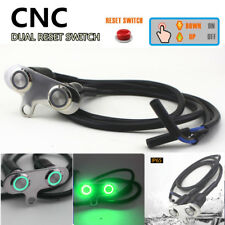 CNC Double Button Motorcycle Push Switch Green LED Momentary Engine Start Kill