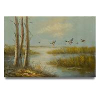 NY Art - Winter Ducks in Flight 24x36 Landscape Oil Painting on Canvas - Sale!
