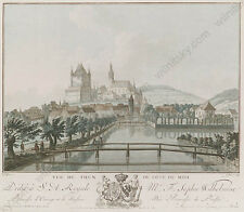 "Jean Francois Janinet ""Vue de Thun"", Watercolored Aquatint, Late 18th century"