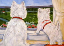 "West Highland Terrier Aceo Westie Print Painting ""The View"" Dog Art - Randall"