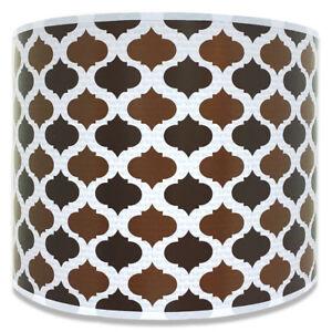 Royal Designs Brown Mediterranean Pattern Shallow Drum Hardback Lamp Shade