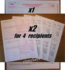 2018 IRS Tax Form 1099-MISC Laser 4 recipients+(1)1096 #TF6103 4-pt --->> NO Env
