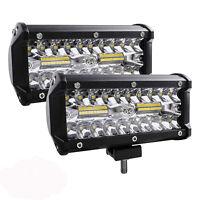 2Pack LED Light Bar 240W 24000LM Spotlight Off Road SUV Jeep Flood Driving Light