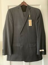 NWT Michael Kors 42L Grey 100% Wool 2-Piece Suit - 2-Button Jacket, Flat Front