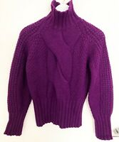 Massimo Dutti Purple Cable knit Jumper Roll Up Neck Sweater size Small & Large