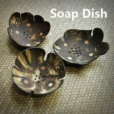 2pcs Soap Dish Coconut Shell Soap Holder Stop Mushy Easy Cleaning Box Retro Home