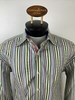 Robert Graham Mens XL Green Stripe Long Sleeve Dress Shirt Contrast Cuff Collar