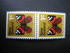 NEW ZEALAND 1971 1c BUTTERFLY PAIR WMK SIDEWAYS INVERTED NHM EX BOOKLET SG 915b