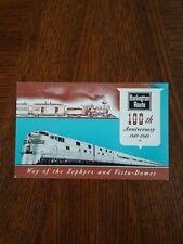 Burlington Route 100th Anniversary Railroad Postcard Zephyrs