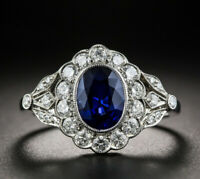 3ct Oval Cut Blue Sapphire Engagement Ring 14k White Gold Over Art Deco Cocktail
