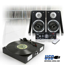 Black LP Vinyl Record Player, Home Hi-Fi Stereo Speakers and Amplifier USB/FM/SD